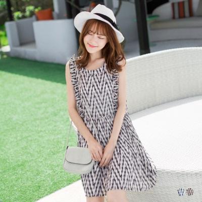 0607新品 雪紡色彩波浪荷葉邊無袖造型寬鬆洋裝.2色