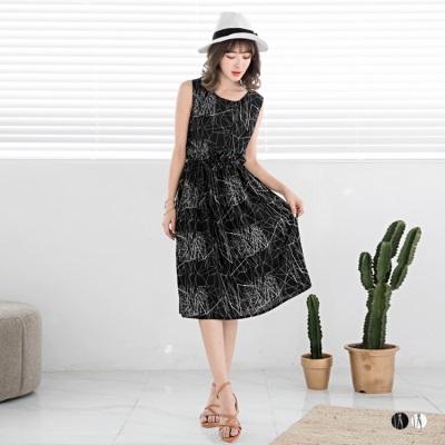 0616新品 幾何曲線設計縮腰無袖洋裝.2色