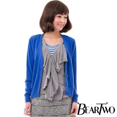 BearTwo 假兩件開襟針織外套 (藍色)