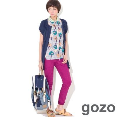 gozo 綠樹鳥語印花短袖襯衫