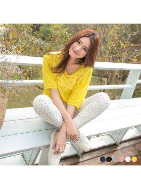 綺麗格調~素色布蕾絲裝飾連袖上衣.6色