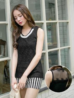 高端細緻~羅紋拼接布蕾絲領口珍珠裝飾無袖上衣.2色