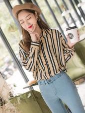 配色條紋輕盈面料襯衫.2色