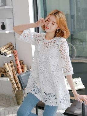 素色蕾絲鏤空圓領七分袖長版上衣/洋裝