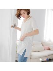 素色V領修肩造型斜襬寬鬆長版上衣.5色