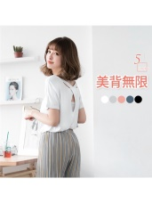 背後交叉設計純色棉感短袖上衣.5色