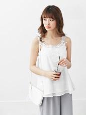 純色拼鏤空蕾絲領無袖上衣.2色