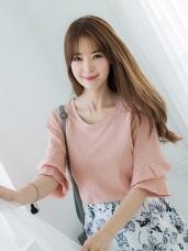 素雅層次傘襬袖造型圓領寬鬆上衣 .4色
