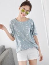 竹節棉設計感印花圓領寬鬆短袖T恤/上衣