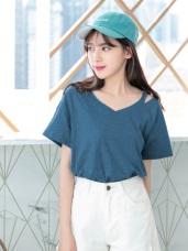 多色系高含棉造型鏤空V領竹節棉T恤