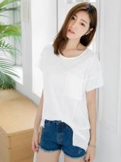 素色剪裁造型口袋竹節棉圓領寬鬆T恤.4色