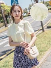 高含棉下襬造型蕾絲設計純色排釦上衣