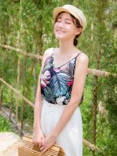熱帶渡假風樹葉印花可調式細肩背心