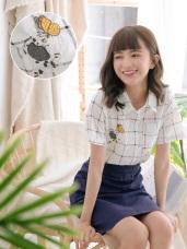 高含棉小狗蝴蝶刺繡貼布造型格紋襯衫