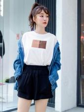 台灣製造 . 高含棉色塊英文字燙印圓領上衣