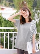 台灣製造.配色條紋拼接口袋寬版T恤/上衣