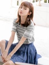 台灣製造. 袖蕾絲拼接橫條紋配色小V領T恤/上衣