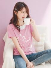 台灣製造. 高棉雙面小貓燙印拼接圓領T恤/上衣