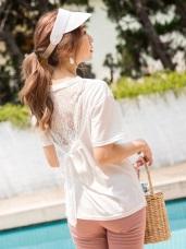 台灣製造 . 高含棉後背蕾絲拼接綁帶圓領上衣