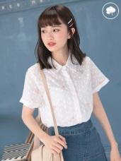 高含棉袖反褶清新花朵刺繡蕾絲襯衫