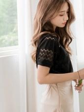 純色針織緹花縷空圓領上衣