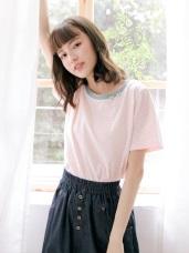 高含棉小花刺繡橫條紋配色圓領短袖T恤/上衣