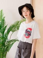 台灣製造 . 高含棉英文印花前短後長寬版T恤