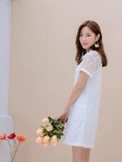 兩件式蕾絲透膚襯衫X純色細肩帶長版背心短袖洋裝