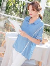 襯衫領V領開襟造型蕾絲拼接五分袖寬版上衣