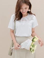 高含棉鏤空蕾絲拼接純色綁帶短袖上衣