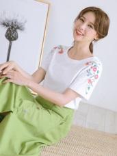 高含棉袖花朵刺繡純色圓領短袖T恤/上衣