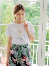 高含棉動物英文字刺繡上衣/T恤
