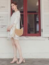 高含棉雕花鏤空純色長版上衣