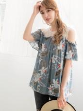 滿版夏日印花蕾絲層次拼接露肩寬袖涼感上衣