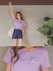 高含棉細條紋貓咪口袋刺繡短袖T恤/上衣
