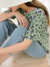滿版配色豹紋針織感上衣/T恤