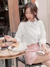 高含棉立體織紋蕾絲雕花珍珠點綴七分袖襯衫