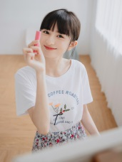 清新葉子印花立體蝴蝶結設計圓領短袖T恤/上衣