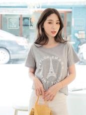 高含棉巴黎鐵塔英文燙字短袖上衣/T恤
