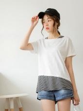 高含棉拼接條紋假兩件短袖上衣/T恤