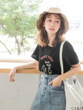休閒風動物英文刺繡短袖上衣/T恤