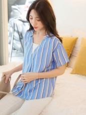 條紋配色造型V領假兩件寬鬆短袖上衣