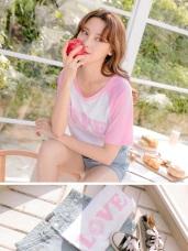 台灣製造.高棉LOVE燙印圖撞色短袖長版T恤