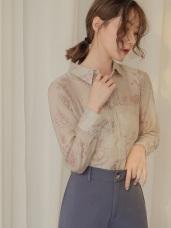 滿版素描線條印花微透膚長袖襯衫上衣