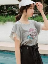 高含棉傘袖拼接網布英文印圖短袖上衣/T恤