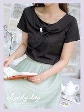 優雅造型領拼接綴飾純色短袖上衣
