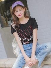 台灣製造.高含棉愛心塗鴉短袖T恤/上衣