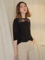 純色不易皺透膚蕾絲拼接壓褶設計七分袖上衣