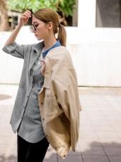高含棉撞色翻領五分袖長版上衣/襯衫
