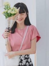台灣製造.純色圓領下襬圓弧造型抓皺連袖上衣